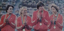 Олимпийские чемпионки 1980 года в эстафете 4×400 м, слева направо: Пророченко, Гойщик, Зюськова и Назарова